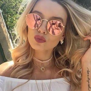 Fashion pink round mirrored sunglasses